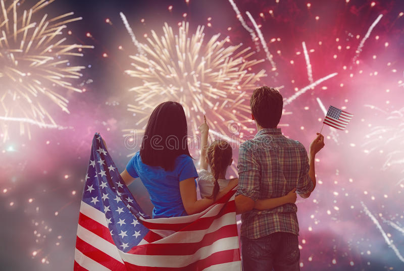 Patriotic holiday. Happy family royalty free stock image
