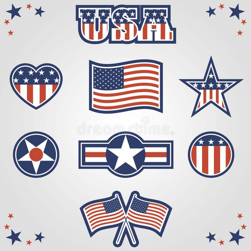 Patriotic Icons. A set of eight patriotic symbols. Background placed on separate layer