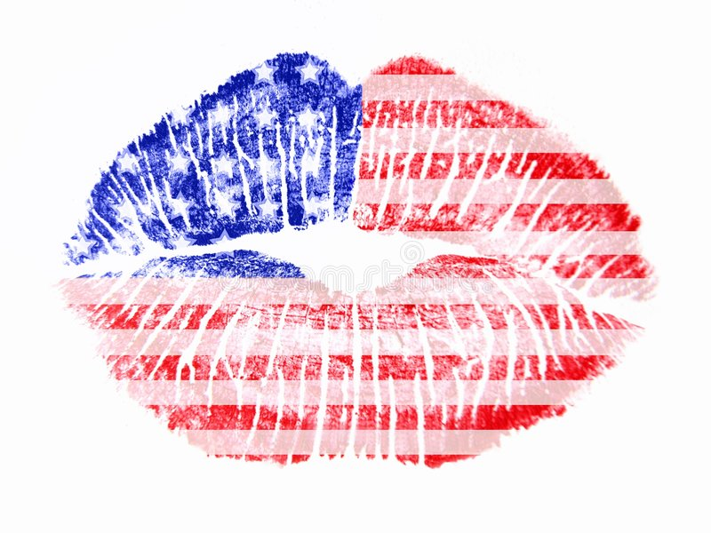 Patriotic love - USA. A patriotic US flag lip print on a white background; a kiss royalty free stock photo