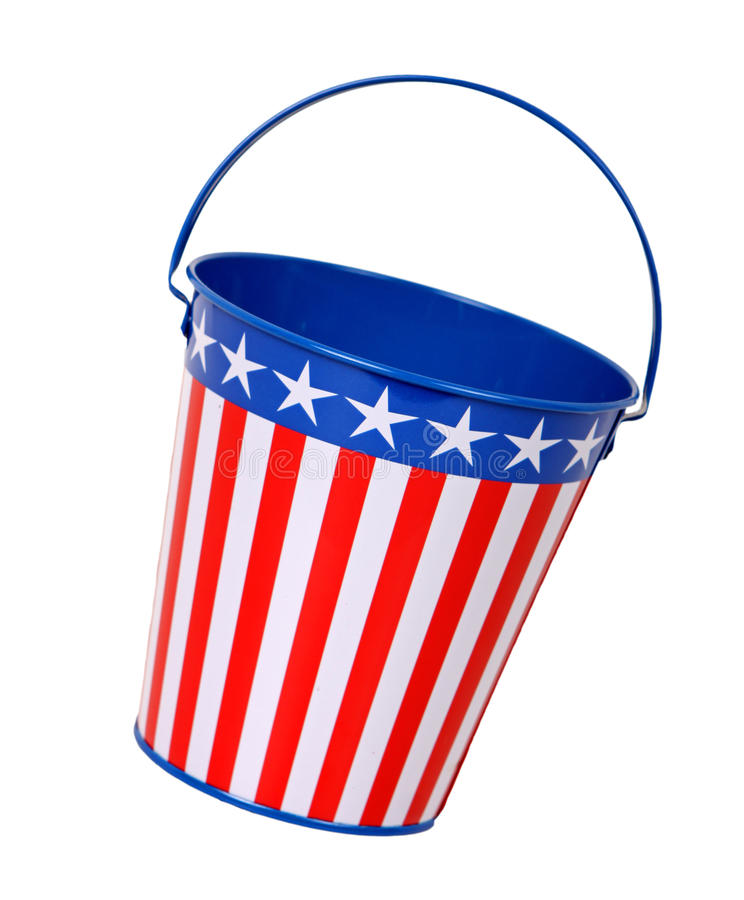 Patriotic Pail. Pail decorated with red, white, and blue stars and isolated on white. Summer, holiday, or American government theme royalty free stock images