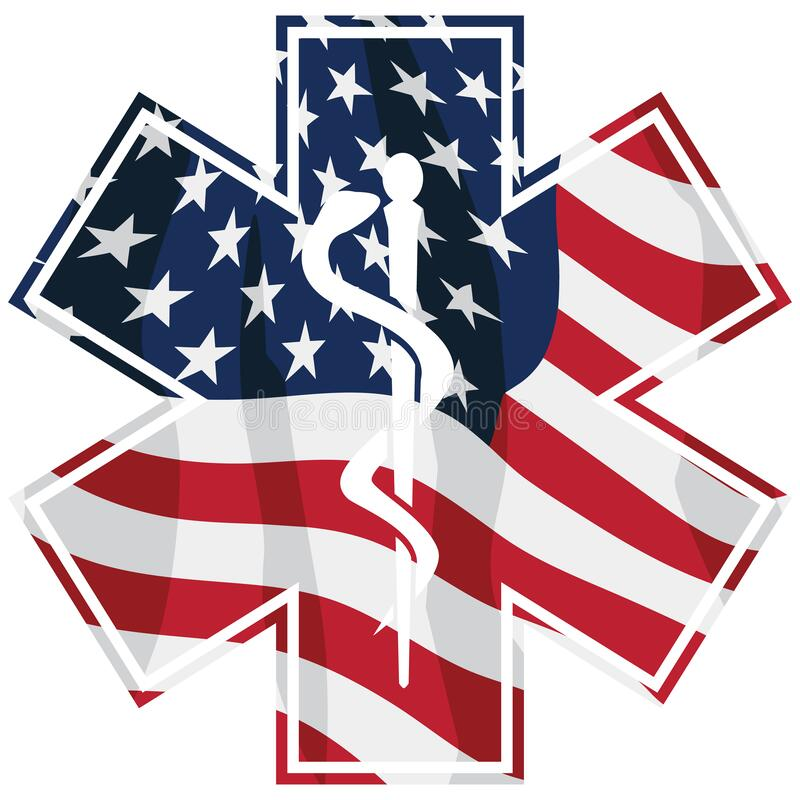 Patriotic Paramedic EMT Medical Service Symbol with USA Flag Overlay Isolated Vector Illustration royalty free stock photo