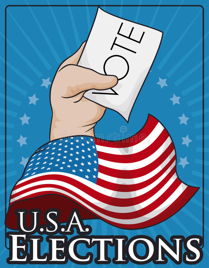 Patriotic Poster Promoting the Suffrage with Hand and American Flag, Vector Illustration. Commemorative patriotic design with American flag and voters hand with royalty free illustration