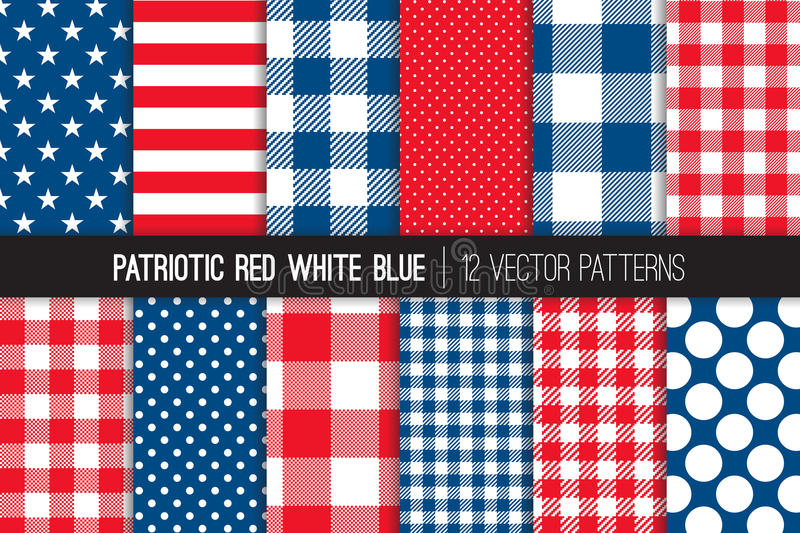 Patriotic Red White Blue Seamless Vector Patterns. royalty free illustration