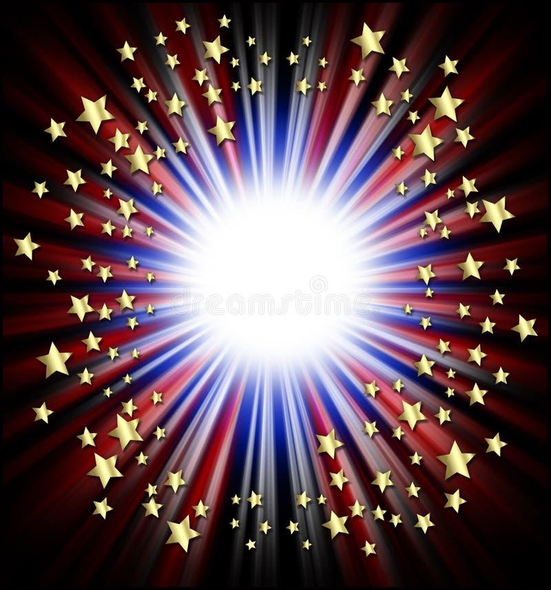 Patriotic shooting stars frame vector illustration