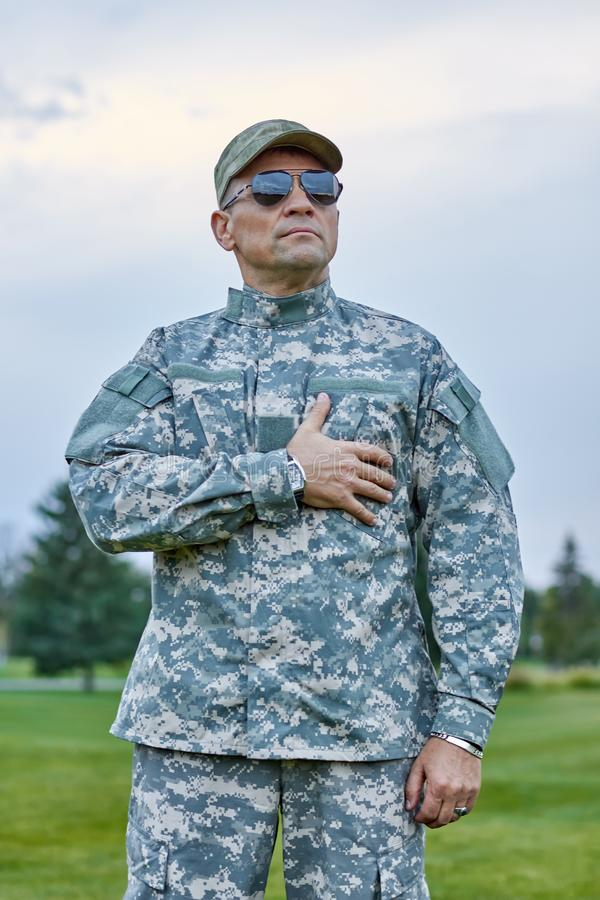 Patriotic soldier with sunglasses. royalty free stock photos