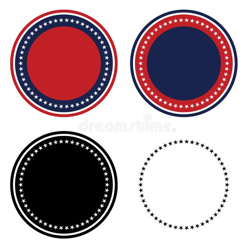 Patriotic 50 Stars Circle Set Isolated Vector Illustration stock photos