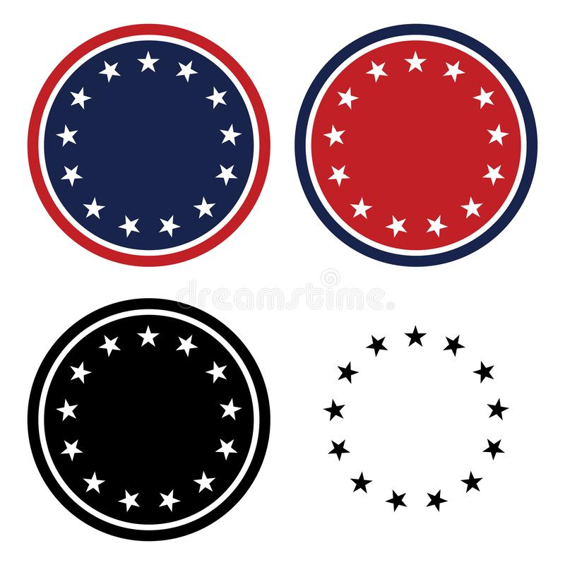 Patriotic 13 Stars Circle Set Isolated Vector Illustration royalty free stock photography