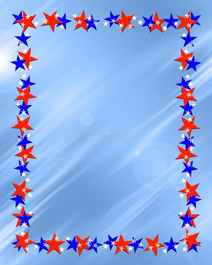 Patriotic Stars Frame Border. Patriotic red white and blue beveled stars frame on light blue background royalty free illustration