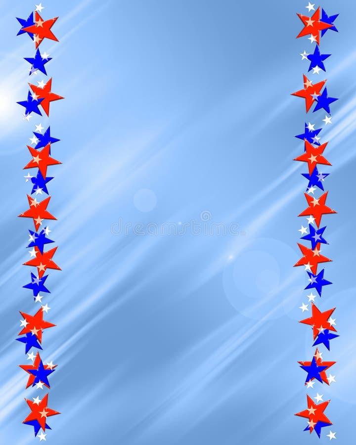 Patriotic Stars Frame Border. Patriotic red white and blue beveled stars frame on light blue background vector illustration