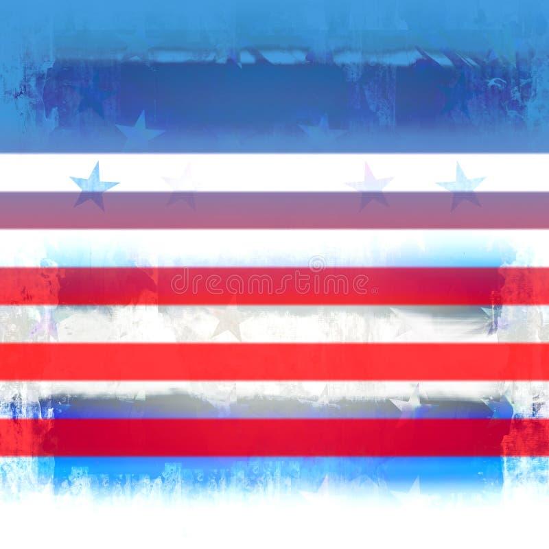 Patriotic Stars And Stripes Grunge. Red, white, and blue patriotic grunge design with stars and stripes stock illustration