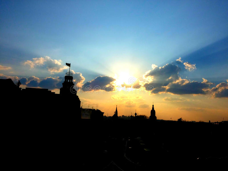 Patriotic sunset. This is the view from my office window. Kharkiv, Ukraine stock photos