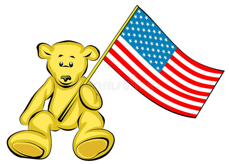 Patriotic Teddy Bear (Vector). Vector illustrations on white background royalty free illustration