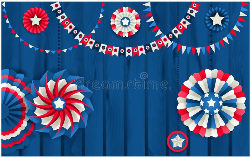 Patriotic template with paper pinwheels hanging on wooden fence stock illustration