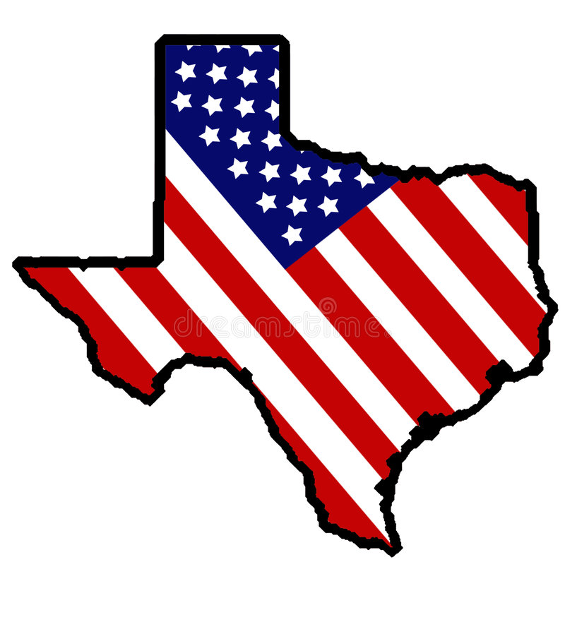 Patriotic Texas. Texas wraped in old glory vector illustration