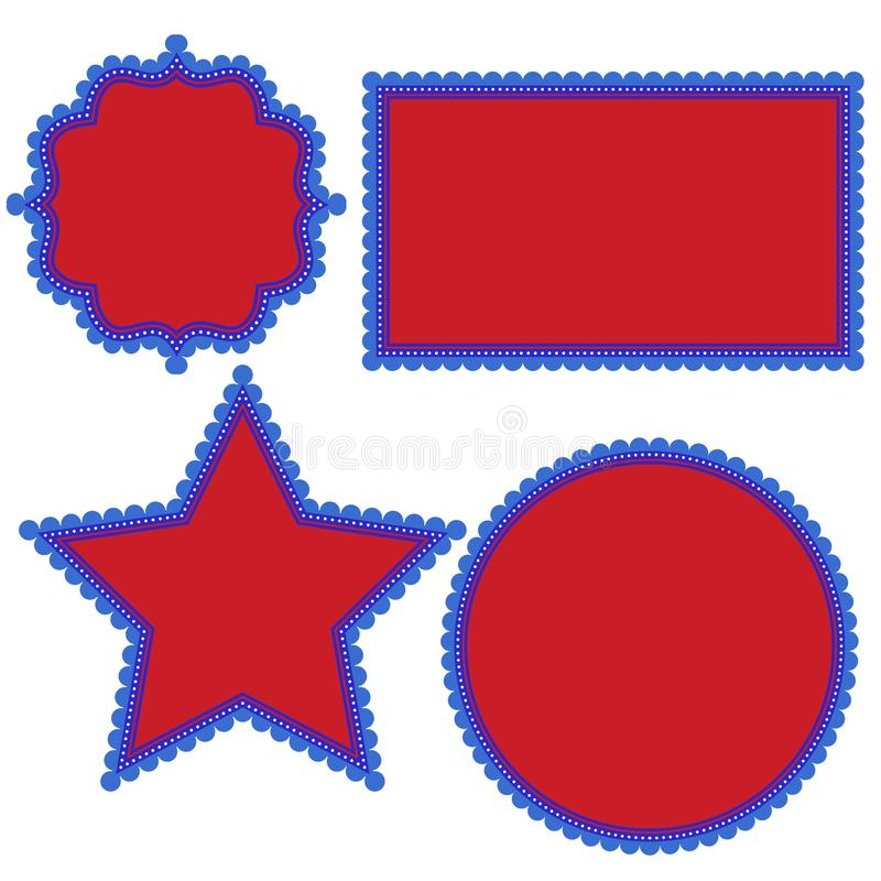 Patriotic 4th of July Fancy Fun Shapes with Scalloped Edges and Dots in Red White and Blue vector illustration