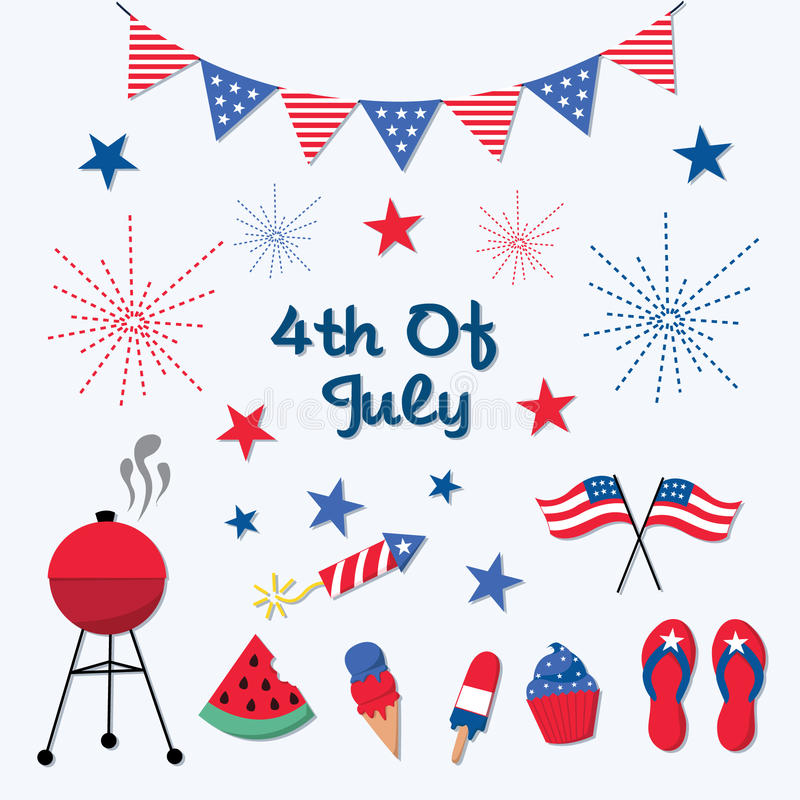 Patriotic 4th of July Icons royalty free illustration