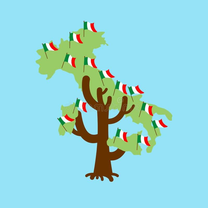 Patriotic tree Italy map. Italian flag. National political Plant vector illustration