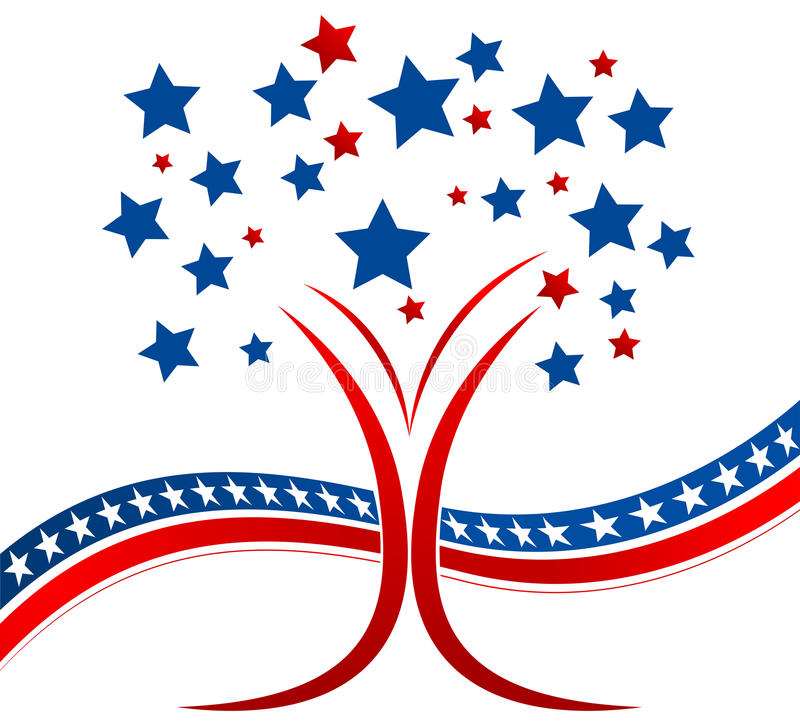 Patriotic tree. Vector illustration of patriotic tree with stars vector illustration