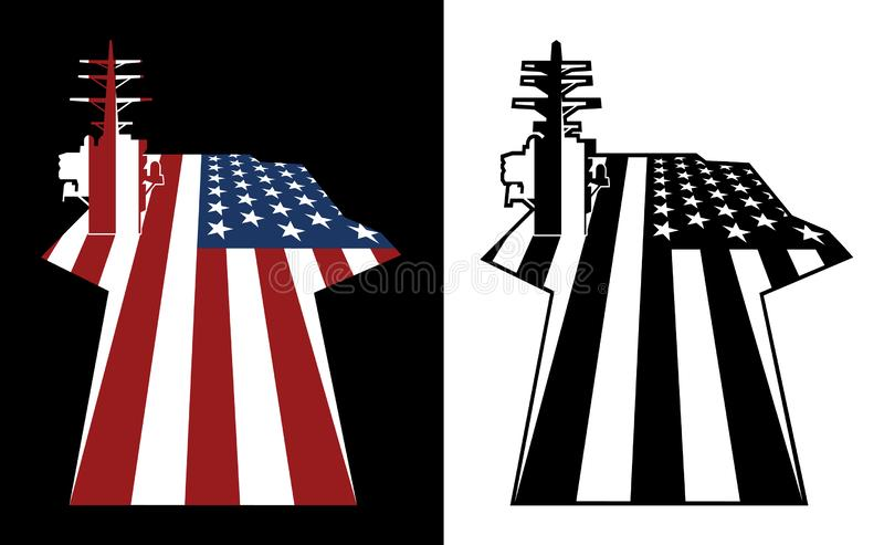 Patriotic U.S. Aircraft Carrier American Flag Isolated Vector Illustration stock illustration