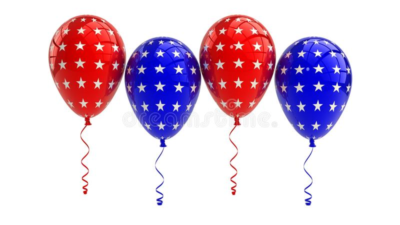 Patriotic US balloons with American stars design. Shiny Patriotic US balloons with American flag - stars design royalty free illustration