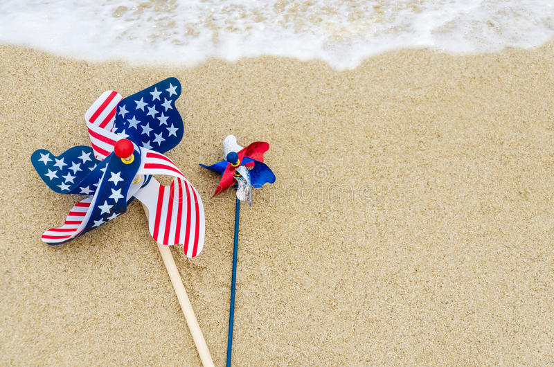 Patriotic USA background on the sandy beach royalty free stock image