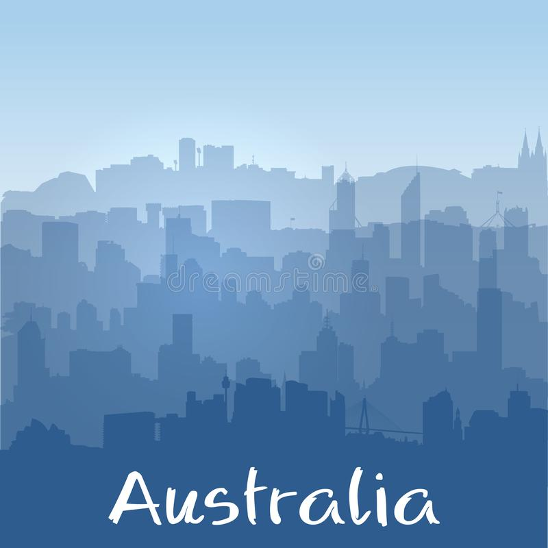 Vector background with biggest Australian cities silhouettes royalty free illustration