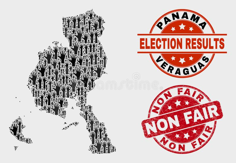 Composition of Ballot Veraguas Province Map and Scratched Non Fair Watermark stock illustration