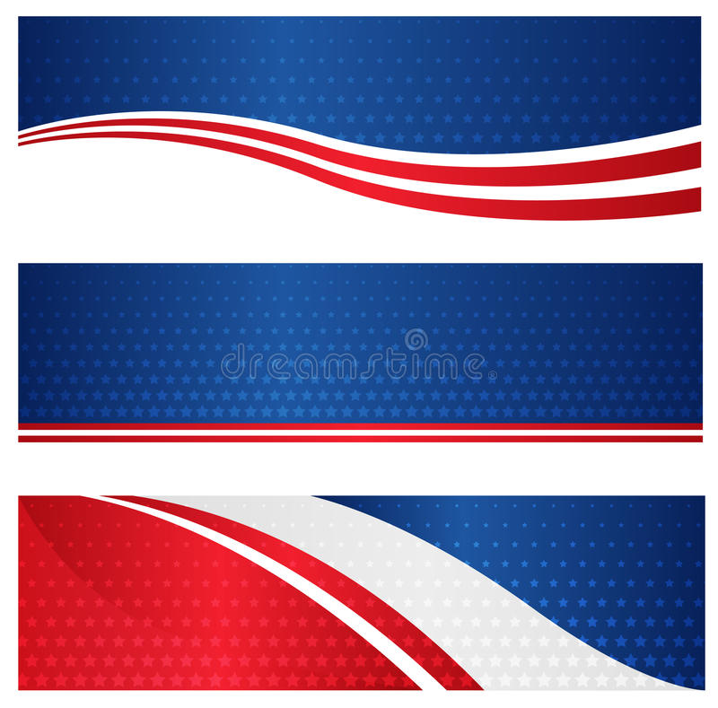 Patriotic web banner. Red and blue American flag / stars and stripes web banner / header collection