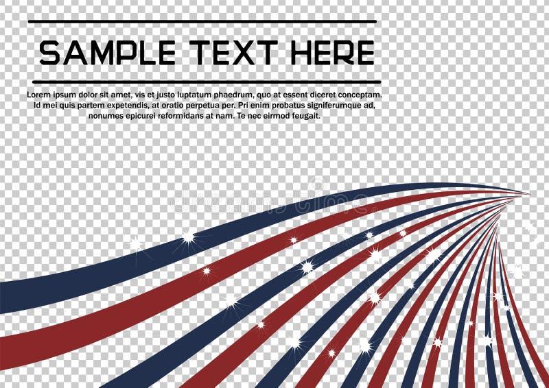 Patriotische abstrakte radiallinie Bohrer des Rotes und der blauer Sumpf-Schwertlilie mit funkelnden Sternen vector Hintergrund lizenzfreie abbildung