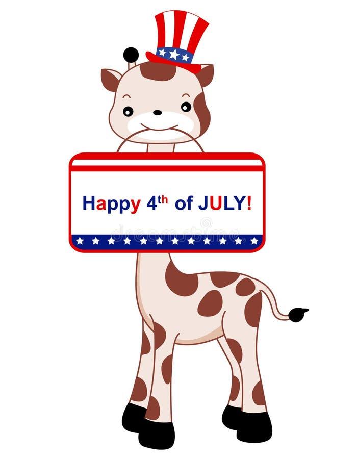 Patriotische Giraffe lizenzfreie abbildung