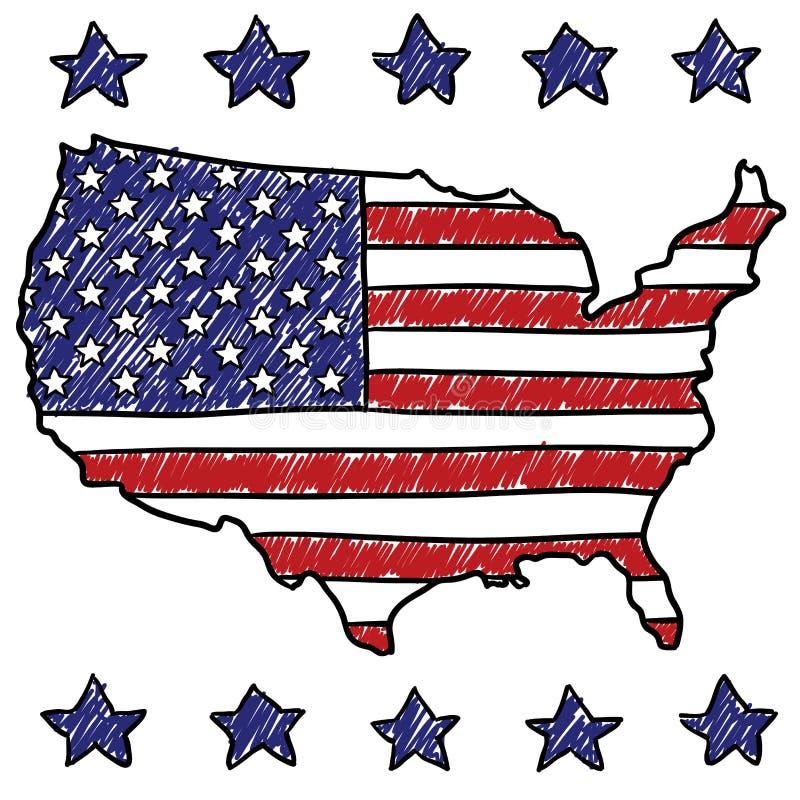 Patriotische Karte der Vereinigten Staaten lizenzfreie abbildung