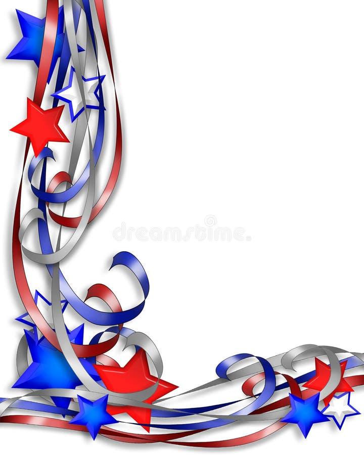 Patriotische Sterne und Farbbänder stock abbildung