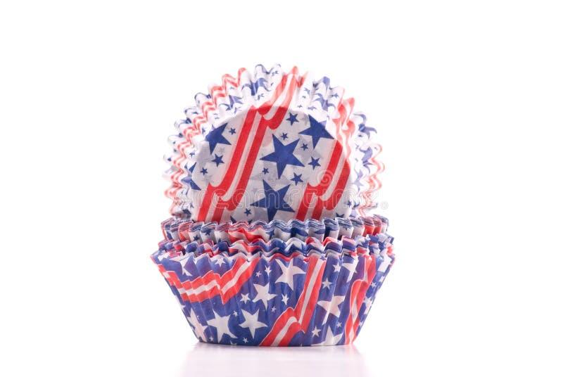 Patriotische USA-Kuchen-Halterungen stockbild