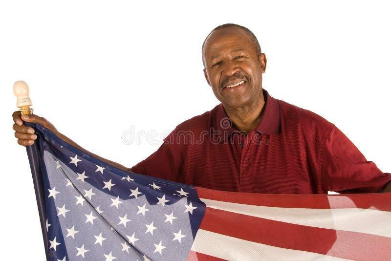 Patriotischer Afroamerikanermann stockfoto
