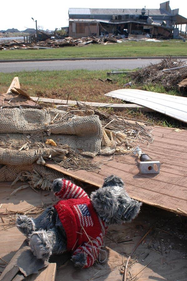 Patriotischer Bär nach Katrina stockfoto