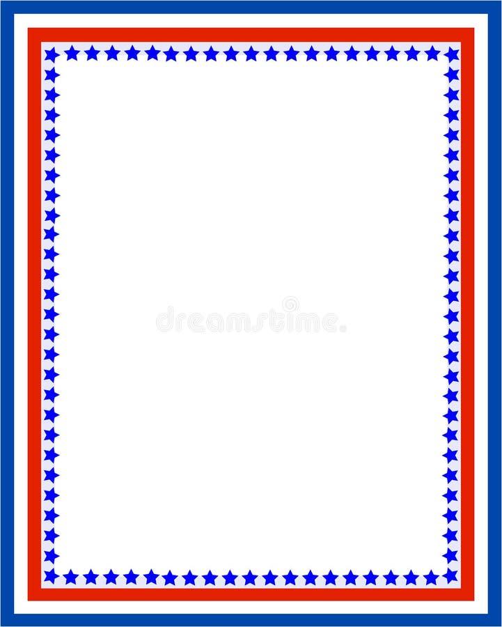 Patriotischer Grenzrahmen mit USA-Flaggensymbolen stock abbildung