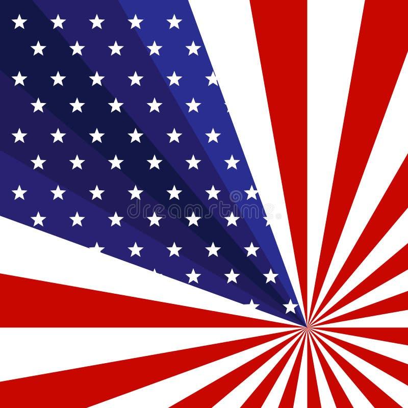 Patriotischer Hintergrund der amerikanischen Flagge mit Sternen und kreatives Konzept der Strahlnstreifen am US-Unabhängigkeitsta lizenzfreie abbildung