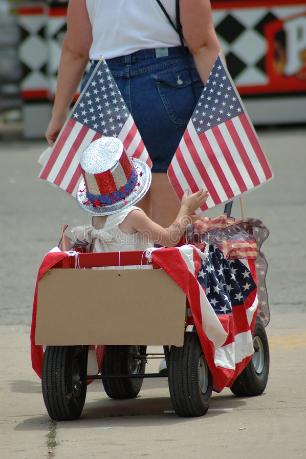 Patriotischer Lastwagen stockfoto