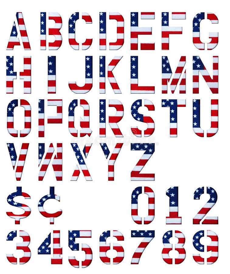 Patriotisches Alphabet und Zahlen stockfotos