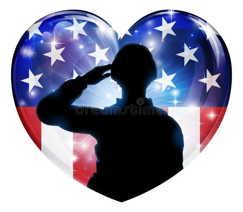 Patriotisches Soldat-Saluting American Flag-Herz lizenzfreie abbildung