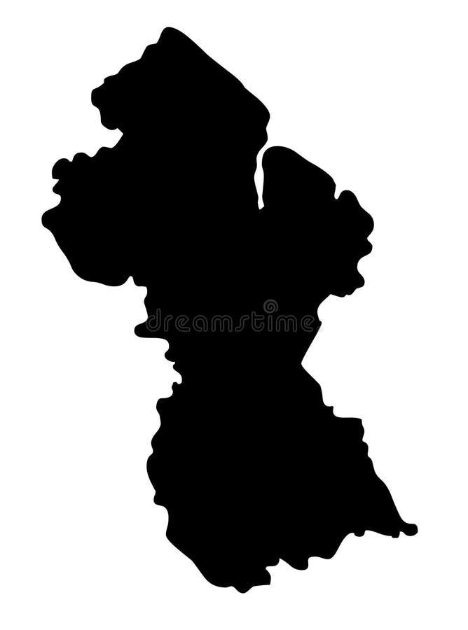 Patriotisk översikt Guyana för Guyana översiktskontur royaltyfri illustrationer