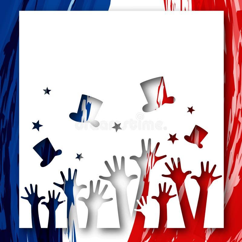 Patriotisk bakgrundsflagga av orienteringen för Frankrike broschyrbaner med händer och hattar på bakgrunden av den festliga frans stock illustrationer
