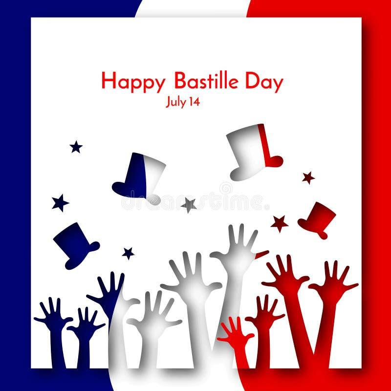 Patriotisk bakgrundsflagga av orienteringen för Frankrike broschyrbaner med händer och hattar på bakgrunden av den franska flagga stock illustrationer