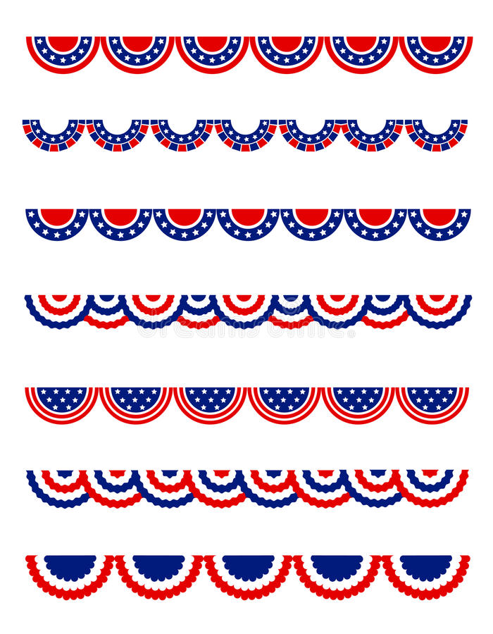 patriotisk bunting royaltyfri illustrationer