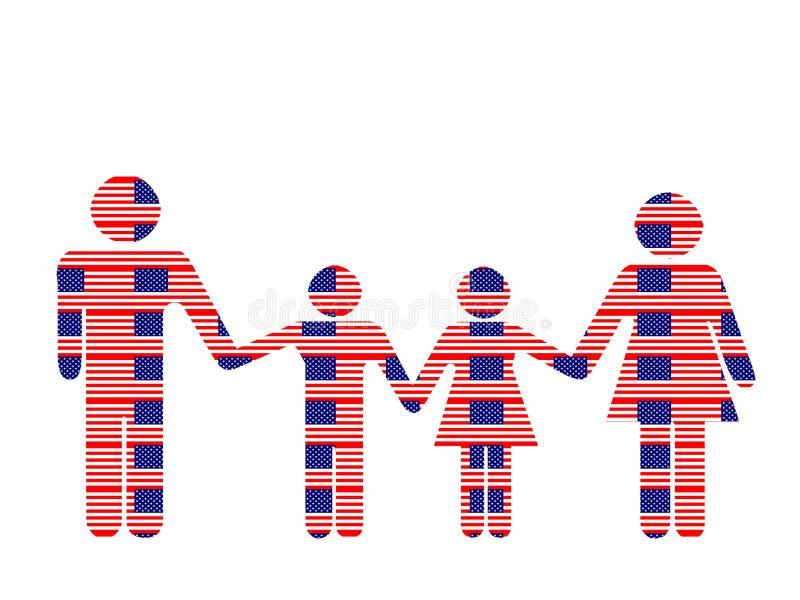patriotisk familj stock illustrationer