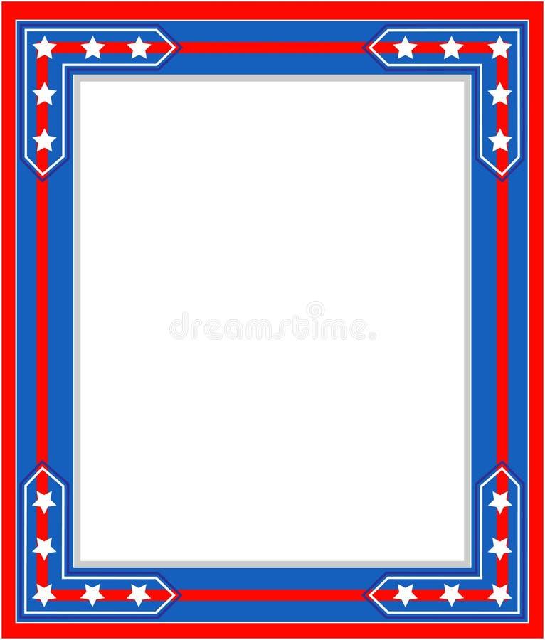 Patriotisk gräns för USA flaggasymbolism royaltyfri illustrationer