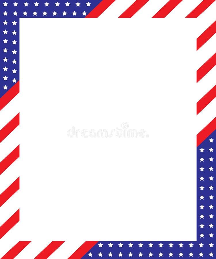 Patriotisk gränsram stock illustrationer