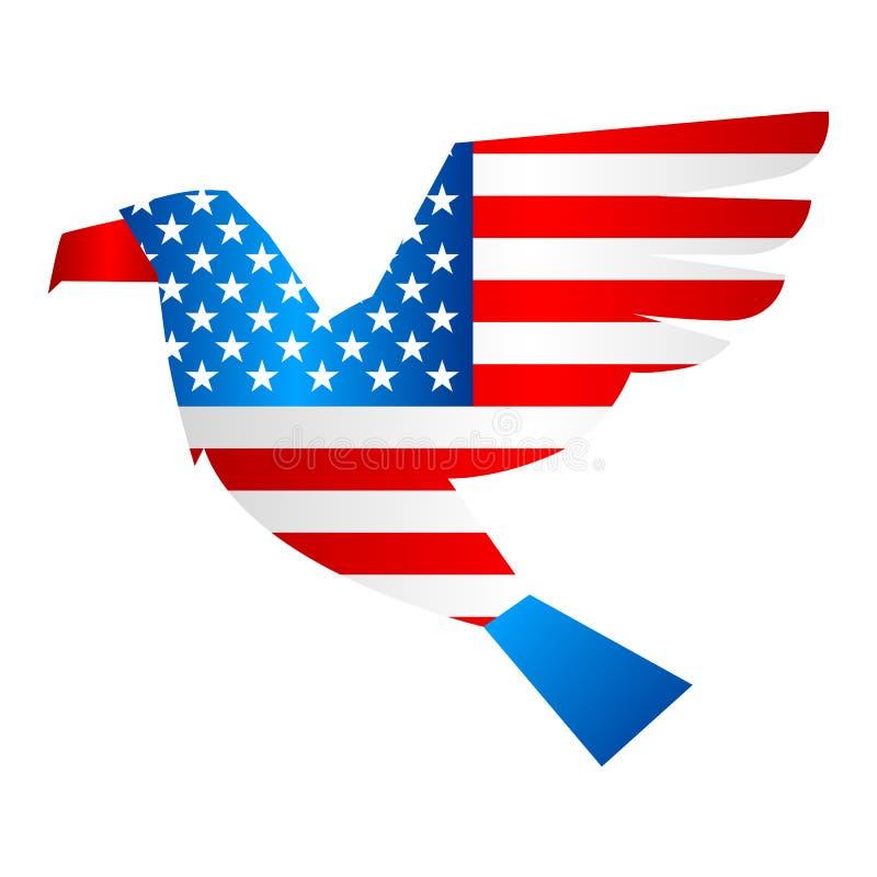Patriotisk illustration för självständighetsdagen Amerikanska flaggan med stjärnor och band i form av örnen royaltyfri illustrationer