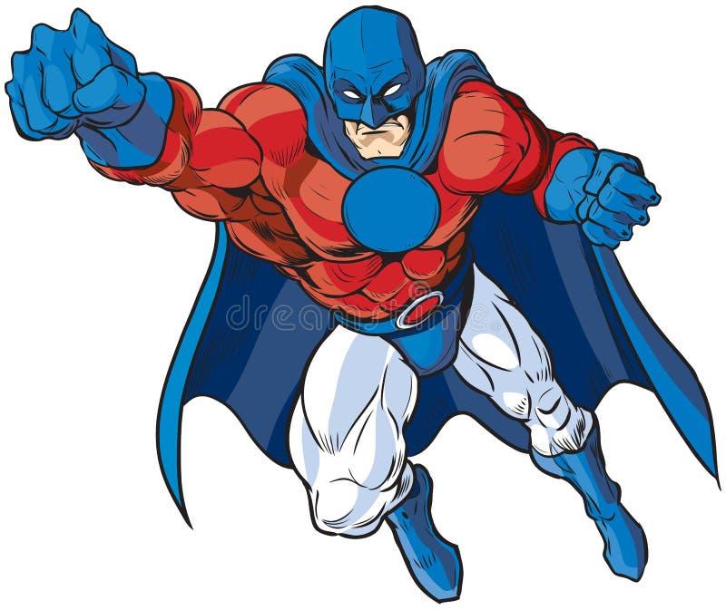 Patriotisk manlig Superherovektortecknad film royaltyfri illustrationer
