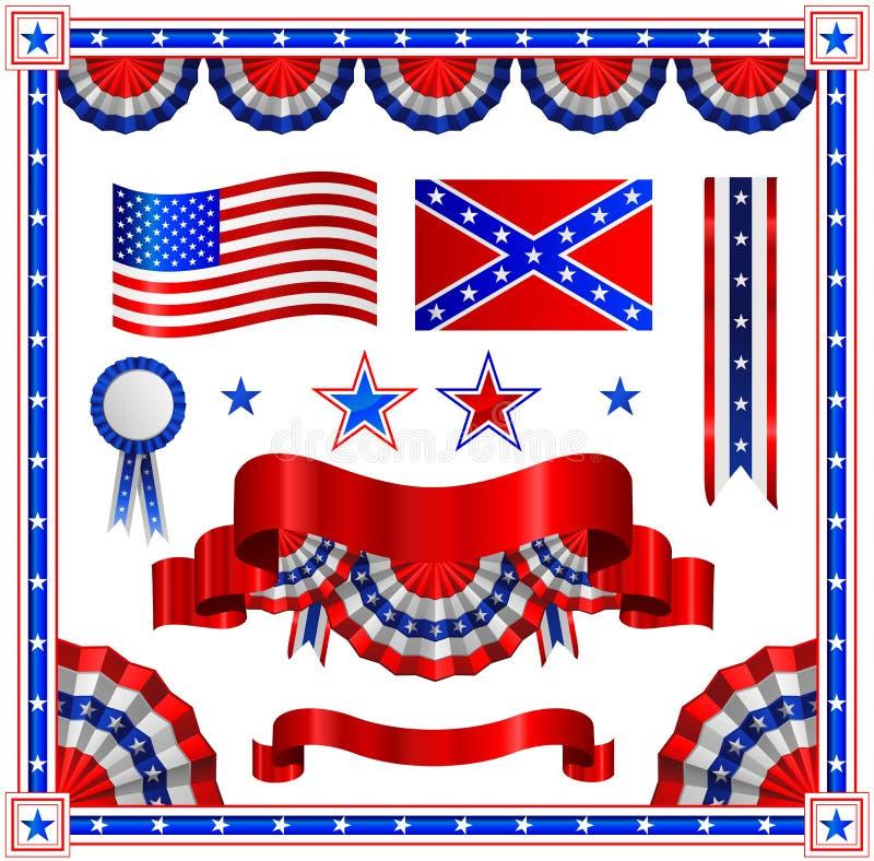 patriotiska amerikanska element stock illustrationer